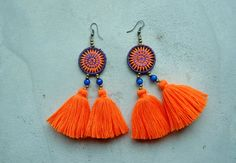 Ethnic Hmong Embroidery Orange Tassel Earrings