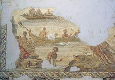 Description Villa of the Nile Mosaic, third mosaic, fishing boats Ancient Rome, Ancient Art, Phoenician, Minoan, How To Make Notes, North Africa, National Museum, Roman Empire, Mosaic Art
