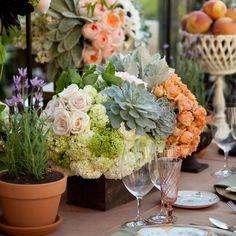 Floral & fruit centerpieces // Samuel Lippke Studios // Event Design: Details Details // Flowers: Bloom Box Designs // http://www.theknot.com/weddings/album/a-romantic-secret-garden-styled-shoot-134413