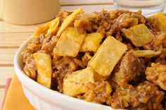 Frito Taco Casserole Recipe Main Dishes with ground beef, refried beans, mild… Beef Dishes, Food Dishes, Main Dishes, Casserole Dishes, Casserole Recipes, Taco Casserole, Mexican Casserole, Great Recipes, Dinner Recipes