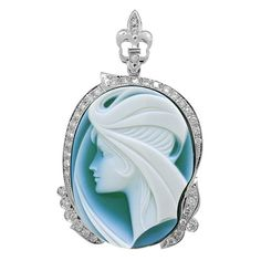 1.37ct Diamond & 45.26ct Cameo 14k White Gold Pendant Necklace -allurez.com