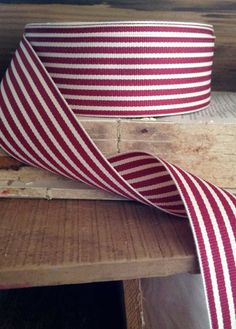 red and cream striped grosgrain ribbon on Etsy
