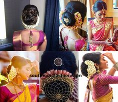 40 Trendy Ideas For South Indian Bridal Hairstyles Hairdos Wedding Bride Bridal Hair Buns, Bridal Braids, Bridal Updo, Indian Bun Hairstyles, Saree Hairstyles, Hairdo Wedding, Wedding Bride, Wedding Dress, Wedding Table