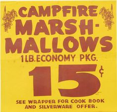 Original Vintage Campfire Marshmallows Harvest Grocery by HodesH