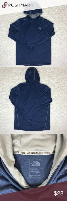 """The North Face Men's Mountain Athletic Pullover Men's The North Face Mountain Athletics lightweight pullover hoodie. FlashDry fabric. The North Face logo on chest. Thumbholes. 100% polyester. 26"""" length, 21"""" armpit to armpit, sleeves 27.5"""" The North Face Shirts Sweatshirts & Hoodies"""