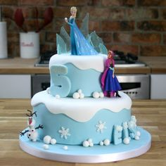 Disney Frozen Cake Tutorial | Two-Tier Birthday Cake                                                                                                                                                                                 More