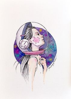 Astronaut Girl Watercolor Print on my shop … - Art Painting Space Watercolor, Watercolor Girl, Watercolor Galaxy, Watercolor Drawing, Watercolor Illustration, Portrait Illustration, Space Drawings, Easy Drawings, Astronaut Drawing