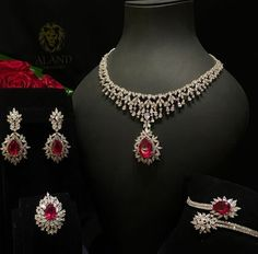 Aland Jewelers Ruby and Diamond Parure Yellow Jewelry, Gold Jewelry Simple, Ruby Jewelry, Chanel Jewelry, Diamond Jewelry, Fashion Jewelry, Simple Necklace, Gold Jewellery, Indian Jewelry Sets