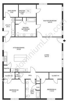 Top 20 Barndominium Floor Plans Barn Homes Floor Plans, Metal House Plans, Pole Barn House Plans, Pole Barn Homes, New House Plans, Dream House Plans, Small House Plans, House Floor Plans, Barn Plans