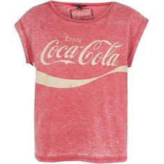 Red Coca-Cola Burnout T-Shirt (39 RON) ❤ liked on Polyvore featuring tops, t-shirts, shirts, blusas, red short sleeve top, burnout t shirt, red tee, burnout tee and red top