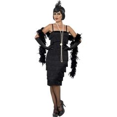 You can purchase a Women's Black Flapper Costume for costume parties from the Halloween Spot. This black flapper costume comes with Long Dress, Headband & Gloves. Plus Size Flapper Costume, 1920s Flapper Costume, Gatsby Costume, Adult Costumes, Costumes For Women, Vestido Charleston, Vestidos Flapper, Black Costume, Halloween Fancy Dress