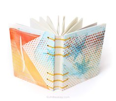Gelatin Print Journal with Japanese Maple Leaves, lays flat when open