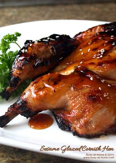Sesame Glazed Cornish Hen - grilled to perfection and drizzled with a sumptuously, savory sesame glaze these Cornish Hens deliver flavor-pac...