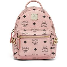 MCM Stark Bebe Boo Backpack In Side Studded Visetos (2.590 RON) ❤ liked on Polyvore featuring bags, backpacks, accessories, pink fanny pack, studded backpack, pink mini backpack, bum bag and crossbody backpack