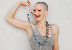 Crochet necklace cotton dusk blue, white, olive Textile jewelry by Aliquid.