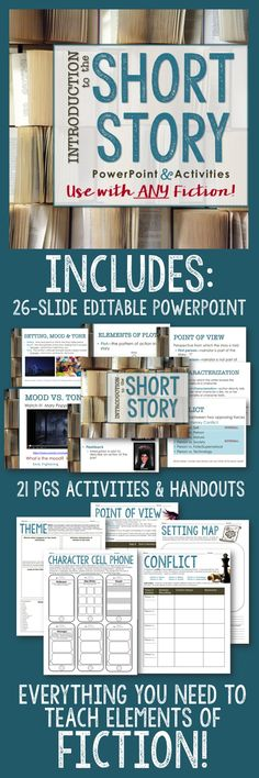 Kick off ANY short story, fiction or literature unit with this 26-slide PowerPoint and 21-page activity bundle intended for secondary ELA. Great for introduction, reinforcement, and/or review, this package guides students through the key elements of literature and includes plenty of engaging, rigorous activities for practice and review—all CCSS aligned. It even includes fun self-assessment activities and a Kahoot game your students will LOVE!