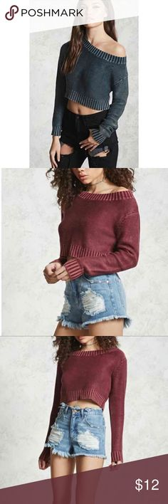 Crop Top Knit Sweater Brand New! With tags! Denim Color (First Picture) Size : M/L Forever 21 Tops Crop Tops
