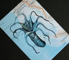Get wiggly ~ ~ Octopus print on vintage ocean map; by CrowBiz.  > click through for more wildlife & sea creature prints