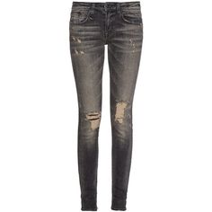 R13 Alison mid-rise skinny jeans ($276) ❤ liked on Polyvore featuring jeans, pants, bottoms, skinny jeans, black, black denim skinny jeans, faded black jeans, black distressed skinny jeans, black destroyed jeans and black destroyed skinny jeans