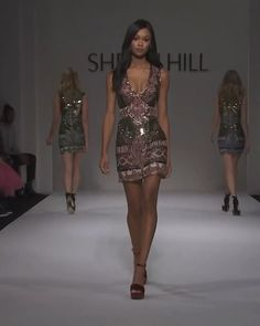 Embellished Mini Prom / Party Dress with Deep Neck Cut and Open Shoulders. Runway Show by Sherri Hill. Fashion Show Themes, Fashion Show Party, Fashion 2018 Trends, Fashion Show Collection, Vogue Fashion, New York Fashion, Runway Fashion, Fashion Models, Sherri Hill Short Dresses