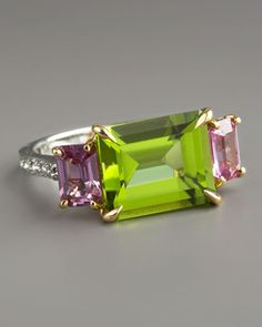 Paolo Costagli Peridot & Pink Sapphire Ring                             Pave diamonds, complementary green peridot, and warm pink sapphires set your look alight.