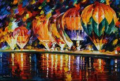 0495  Balloon Park - Palette Knife Oil Painting On Canvas By Leonid Afremov Print by Leonid Afremov