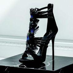 a2430d08da2 Giuseppe Zanotti Madeline Feathered Strappy Dress Sandal Podpatky
