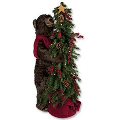 Holiday Bear In Tree Bedecked in a festive red fleece scarf, this friendly bear holds on to his favorite holiday tree