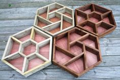 LARGE (70cm x 60cm) hand made wooden hexagonal HERB WHEEL patio planter- I just want to use for a funky shelf!
