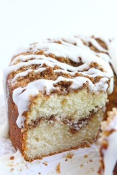 Yogurt Coffee Cake (breakfast or dessert). Ingredients: butter, sugar, eggs, vanilla, Greek yogurt, cake flour, baking powder & soda, salt, brown sugar, flour, cinnamon, cream cheese, powdered sugar, milk