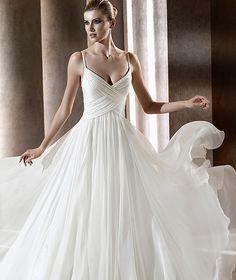 Empire White Spaghetti Straps Sweep Train Beach Wedding Dress online,The Cheap beach wedding dresses is custom made at big discount price!     gmmg
