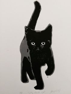 Perfect for a lover of black cats!  Inspired by my lovely little boy Rollo (who often involves himself in my printing process!) This is an original hand carved and hand pulled lino cut print created in my home studio in Sydney, Australia.  Little Black Cat is two toned, with grey and black ink. Paper size is 28 x 19 cm.  Printed with Speedball inks on luscious 280gsm BFK Rives paper.  This is an open edition print, each will be individually titled and signed by hand.  If you would like your…