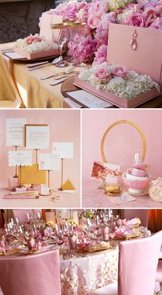 Pink and gold are so pretty and feminine together. But I personally think I'd opt for this color combo for the bridal shower and not the big day.