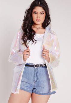 Missguided - Plus Size Holographic Rain Coat White