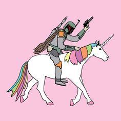 Boba Fett riding a unicorn