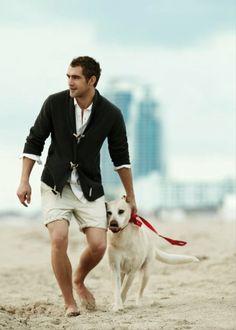 dark green cardigan wth dufflecoat enclosing buttons, white shirt, beige striped shorts / men fashion