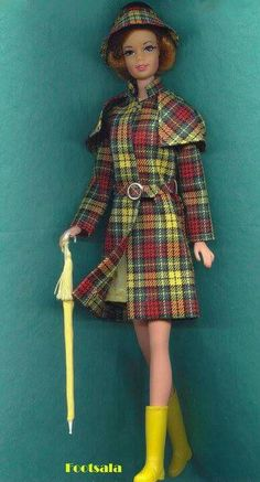 "TNT Stacey wearing Japanese Edition ""Plaid Raincoat"" from the collection of Gene Foote."