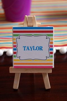 mini easel name place card – Painting with a Twist party anyone? mini easel name place card – Painting with a Twist party anyone? Kids Birthday Themes, Art Birthday, Birthday Parties, Art Themed Party, Art Party, Party Places, Party Entertainment, Painting For Kids, Decoration
