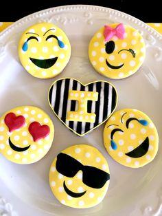 Emoji Themed Birthday Party Cookies via Pretty My Party