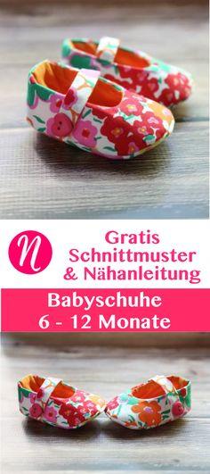 Freebook - Babyschuhe selber nähen mit Nähanleitung ❤ 6 - 12 ❤ leicht - Für Anfänger geeignet ❤ Nähtalente - Magazin für kostenlose Schnittmuster - free sewing pattern for baby shoes for 6 - 12 Month