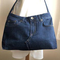Handgemachte Upcycling-Denim-Jeans-Handtasche