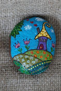 Painted rocks Elves Acrylic painting Beach stone art Stone