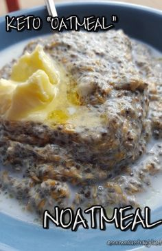 """Hot, creamy, low carb breakfast cereal reminiscent of traditional oatmeal - let's call it """"noatmeal!"""" Only 4 ingredients, and no cooking necessary!   http://screwedonstraight.net/noatmeal-for-breakfast-keto-oatmeal/"""