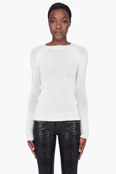BALMAIN Ivory Wool Knit Schetland Sweater