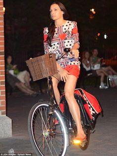 Famke Janssen rode her bike on a Friday night in the SoHo area of New York City