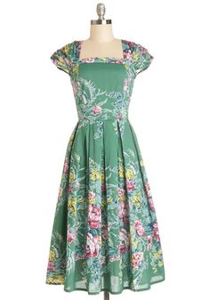 Sightsee and Be Seen Dress in Terrace - Cotton, Woven, Long, Green, Multi, Floral, Pleats, Party, A-line, Better, Vintage Inspired, 50s, Cap Sleeves, Variation