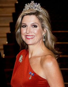 King Willem-Alexander and Queen Maxima of The Netherlands attended the state dinner hosted by Governor General Dame Patsy Reddy and her husband Sir David Gascoigne in the Porrit Room at Government House on November 7, 2016 in Wellington, New Zealand. Queen Maxima wore Claes Iversen Dress.