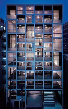 Condominium Architecture, Water Architecture, Concept Architecture, Facade Design, Exterior Design, Stair Design, Arch Building, Building Ideas, Tokyo Apartment
