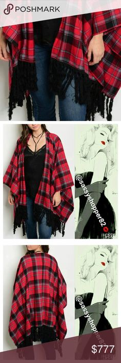 COMING soon Wil be 39 Open Front Long Sleeve Plaid Poncho With Fringe Detail. sass Jackets & Coats Capes