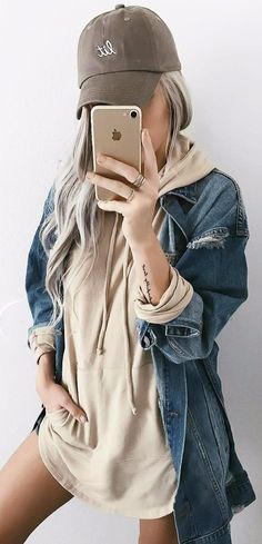 sporty chic look nude hooded dress + denim jacket